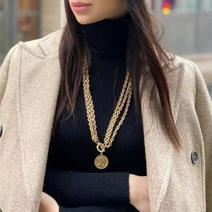 NEW 18K GOLD CHAIN COINT PENDANT NECKLACE